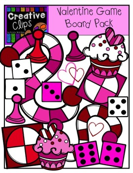 Valentine Clipart Game Board Pack {Creative Clips Clipart}