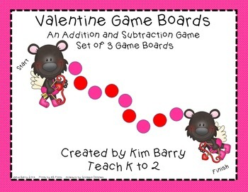 Game Boards - Addition and Subtraction Practice - Valentie