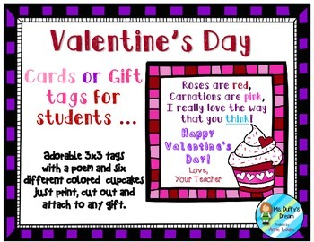 Valentine Card/Gift Tags for student gifts