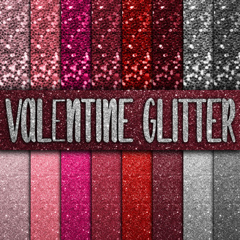 Valentine Glitter Digital Paper Pack - 16 Different Papers - 12inx12in