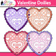 Valentine's Day Paper Doilies Clip Art {Glitter Hearts for Digital Scrapbooking}