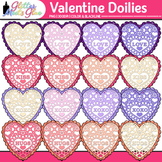 Valentine's Day Paper Doilies Clip Art {Glitter Hearts for