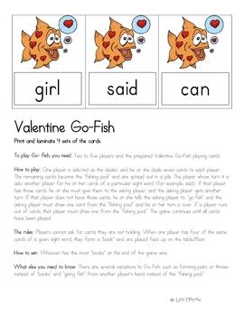 Valentine Go-Fish Sight Word Game