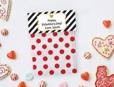 Valentine Goodie Bag Topper, favor bag topper, Editable Valentines, Black Gold