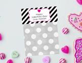 Valentine Goodie Bag Topper, favor bag topper, Editable Valentines, Pink
