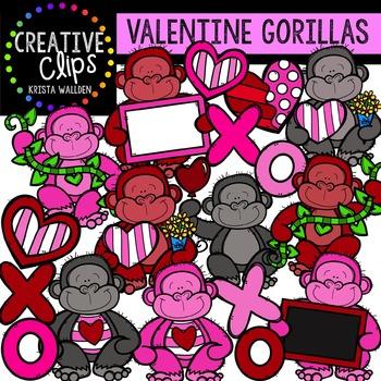 Valentine Clipart: Gorillas {Creative Clips Clipart}
