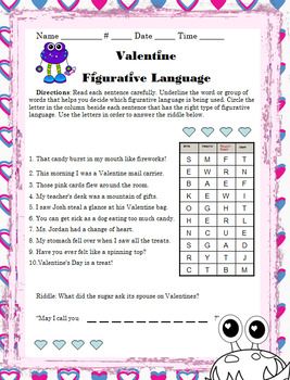 Valentine Grammar Activities Valentine's Day