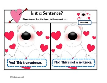 Complete and Incomplete Sentences Center Valentine Theme