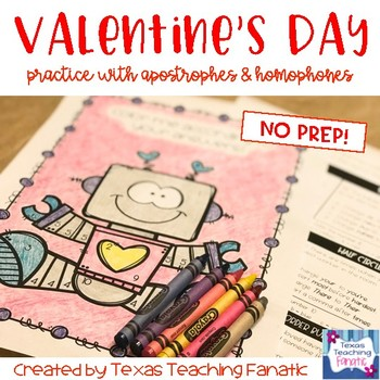 Valentine Grammar Review with Coloring Page