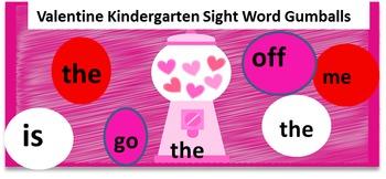 Valentine Gumball Kindergarten Sight Words