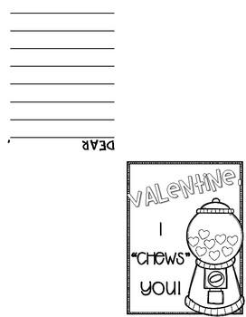 Valentine Gumball Machine Craft and Writing