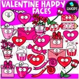 Valentine Happy Faces Clip Art Bundle {Educlips Clipart}