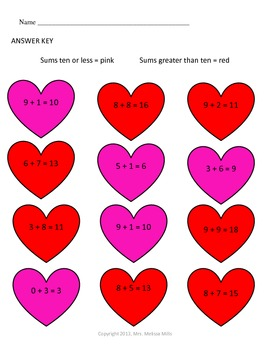 Valentine Heart Addition Color Code Freebie