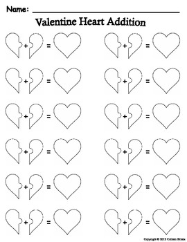 valentine heart addition mat and addition sentence recording sheet. Black Bedroom Furniture Sets. Home Design Ideas