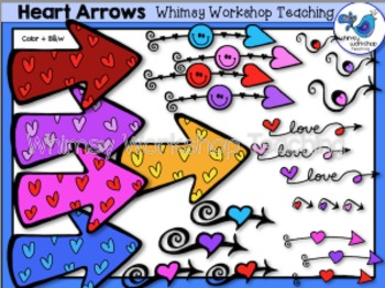 Valentine Heart Arrows Clip Art - Whimsy Workshop Teaching