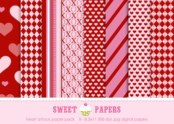 Valentine Heart Attack Digital Paper Pack - by Sweet Papers