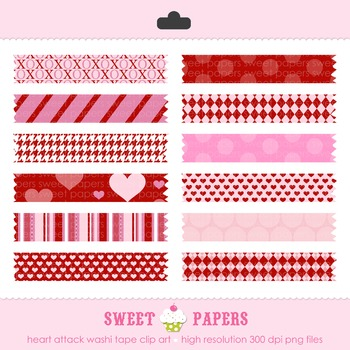 Valentine Heart Attacke Washi Tape Digital Clip Art Set - by Sweet Papers