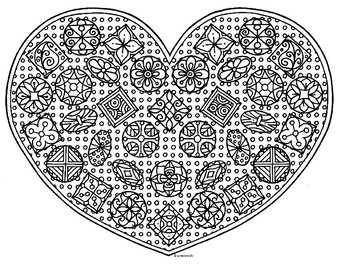 Valentine Heart Box of Chocolates Zentangle Coloring Page