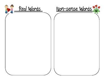 Valentine Heart CVC Real vs Nonsense sort (word work) - common core aligned