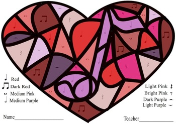 Valentine Heart Color-By-Note