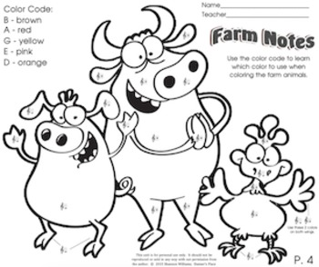 Farm Notes - Color by Note D, E, B, A, G