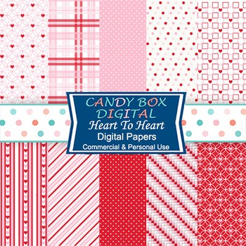 Valentine Heart Digital Background Papers for scrapbook and web