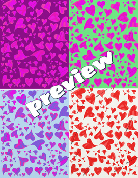 Valentine Heart Digital Papers! Different Color Variations!