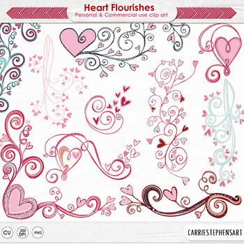 Valentine Heart Flourish Clip Art - Design Ornament - Scroll, Swirls