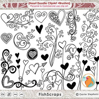 Valentine Heart Flourishes - Whimsical Hearts - Digital Stamps & Brushes