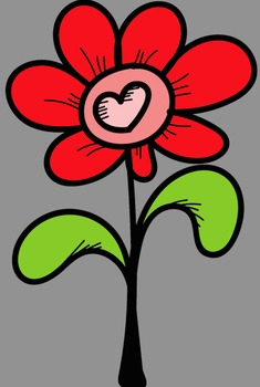 Valentine Heart Flowers Clip Art - Whimsy Workshop Teaching
