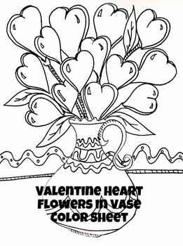 Valentine Heart Flowers in Vase Color Sheet