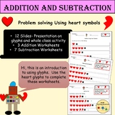 St Valentine Heart Glyphs Addition/Subtraction Problem Sol