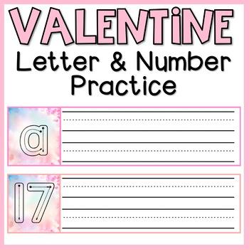 Valentine Heart Handwriting Number & Letter Practice