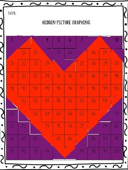 Valentine Heart Hundreds Chart Graphing