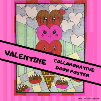 Valentine's Day Heart Ice Cream Cone Collaborative Group Poster - Door Bulletin