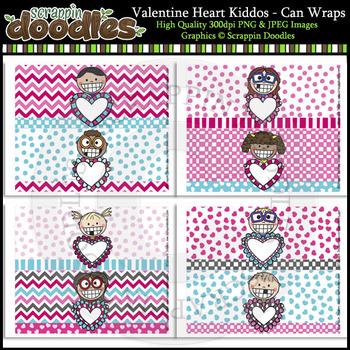 Valentine Heart Kiddos - Can Wraps