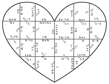 Valentine Heart Logic Puzzle - Adding and Subtracting Fractions w/ Unlike Units