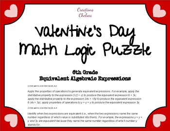 Valentine Heart Logic Puzzle - Equivalent Algebraic Expressions