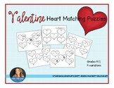 Valentine Heart Math Matching Puzzles