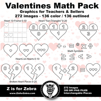 Valentine / Heart Math Set - 272 Images - Commercial OK! - Z is for Zebra