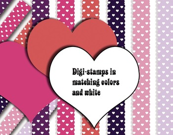Valentine Heart Megapack • Trendy Colors • Digital Stamps Papers 300 DPI Vector