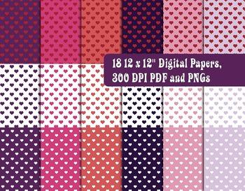 Valentine Heart Megapack • Trendy Colors • Digital Stamps