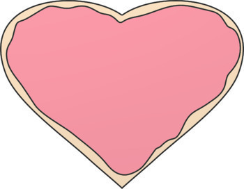 Valentine Clip Art: Colored Candy, Chocolate, Cookie, or Black & Red Line Hearts