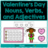 Valentine's Day Heart Nouns, Adjectives, and Verbs - Center Activity & Worksheet