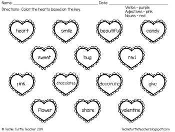 valentine 39 s day heart nouns adjectives and verbs center activity worksheet. Black Bedroom Furniture Sets. Home Design Ideas