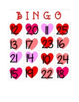 Valentine Heart Number Bingo!