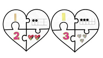 Valentine Heart Number Puzzles 1-10