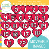 Valentine Heart Number Tiles Clip Art {MOVEABLE IMAGES}