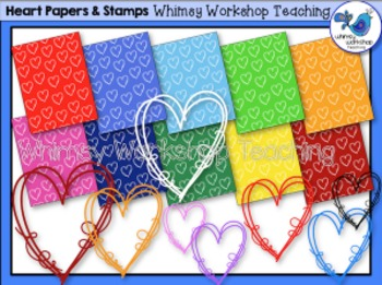 Valentine Heart Papers and Stamps Clip Art - Whimsy Worksh