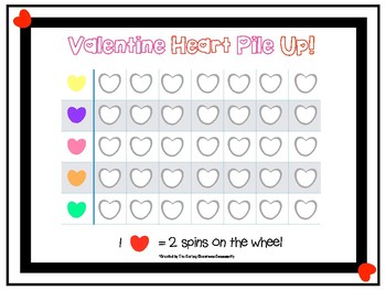 Valentine Heart Pile Up Graphing Math Centers Game